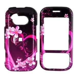 For LG Neon GT365 Hard Case Pink Heart Flowers Black