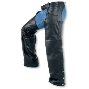 Mens Interstate Leather Boot Cut Chaps, BLACK, XL
