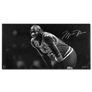 Michael Jordan Autographed Black and White Tribute Canvas