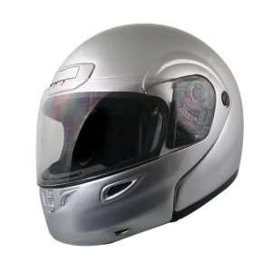 Hawk DOT Silver Glossy Full Face Modular Flip Up Helmet Automotive