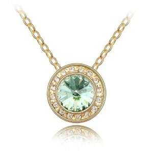 Green Crystal Gold Plated Necklace Pendant Used Swarovski