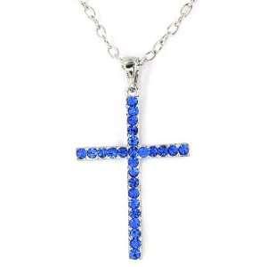 Silvertone Blue Crystal Cross Pendant Necklace Jewelry
