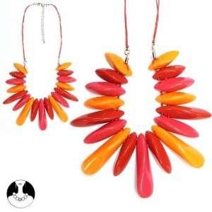 sg paris women necklace necklace 42cm+ext fushia orange