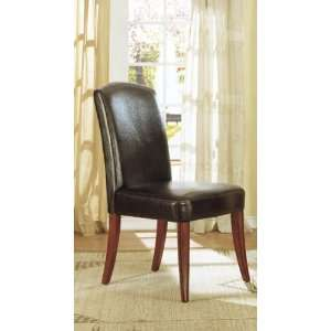 of 2 Dark Brown Bycast Leather Dining Parson Chairs Furniture & Decor