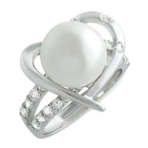 Tressa Sterling Silver CZ Heart Pearl Ring Jewelry