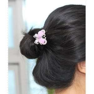 Hair Butterfly Crystal Hair Pin Fork   PINK Beauty
