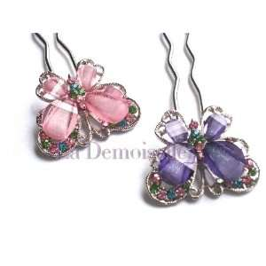 Hair Butterfly Crystal Hair Pin Fork   Pink and Purple (Pair) Beauty