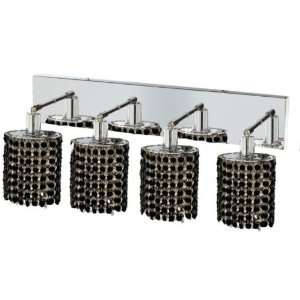 RC Mini 8 Inch High 4 Light Wall Sconce, Chrome Finish with Jet (Black