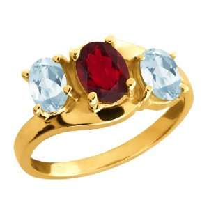 1.81 Ct Oval Ruby Red Mystic Topaz and Aquamarine 14k