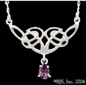 Celtic Knot Necklace, Sterling Silver Pendant, Amethyst set gemstone