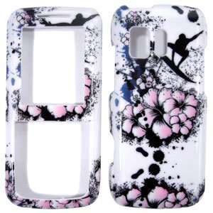 White with Pink Spring Flowers Snowboard Design Snap On