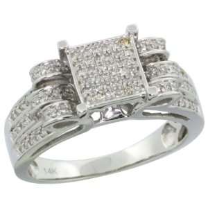 14k White Gold Square Diamond Ring w/ 0.25 Carat Brilliant