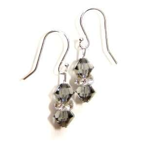 Sterling Silver Swarovski Crystal Earrings Black Diamond
