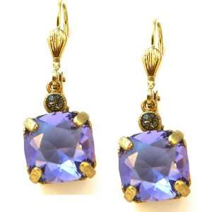 Tanzanite Swarovski Crystal Drop Earrings Catherine Popesco Jewelry
