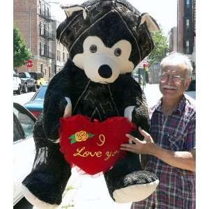 GIANT 60 TEDDY BEAR HOLDING I LOVE YOU HEART   COLOR BLACK WITH