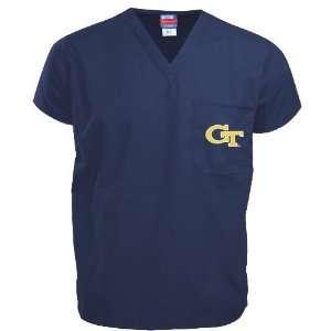 Georgia Tech Yellow Jackets Navy Scrub Top Sports & Outdoors