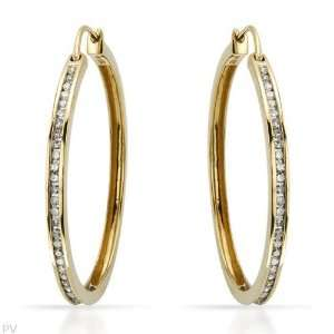 I1 I2 Color H I Diamonds 14K Gold Hoop Earrings CleverEve Jewelry