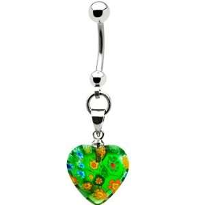 Handcrafted Green Millefiori Heart Belly Ring Jewelry