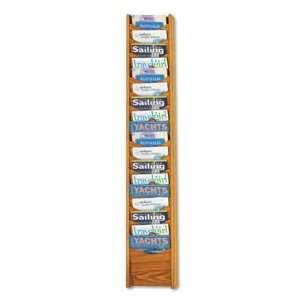 Solid Wood Wall Mount Literature Display Rack   18 Pockets