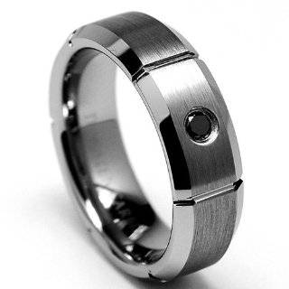 BLACK DIAMOND Grooved Tungsten Carbide Ring Wedding Band Sizes 8 to 12