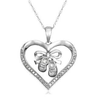 10k White Gold MOM Pendant and Baby Shoe Charm with Diamond Accent