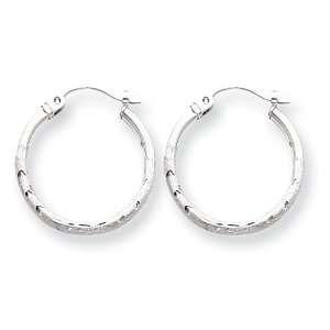 14k White Gold Satin & Diamond Cut Hoop Earrings Jewelry