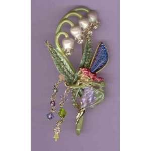 Kirks Folly Lily Of The Valley Fairy Pin Glass RARE NEW