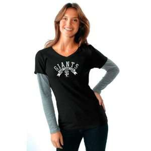 San Francisco Giants Womens Tri Blend V Neck Long Sleeve