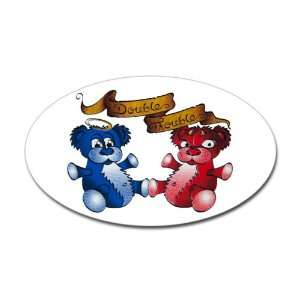 Sticker (Oval) Double Trouble Bears Angel and Devil