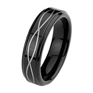 6mm Laser Strip Black Cobalt Free Tungsten Carbide Comfort fit Wedding