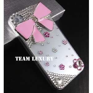 Pink Bow Case Cover for Iphone 4 Cell Phones