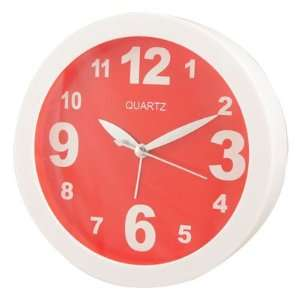 Red White Plastic Round Dial Tabletop Wall Alarm Clock 6