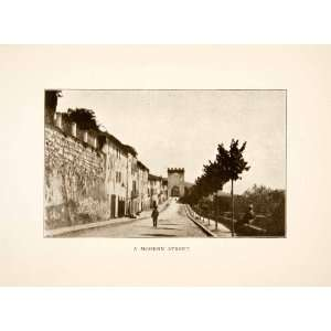 1907 Print Street Scene Assisi Italy Promenade Tree Historical Quaint