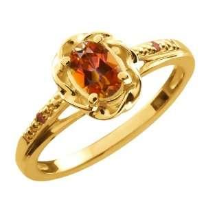 Ecstasy Mystic Topaz Cognac Red Diamond 10K Yellow Gold Ring Jewelry