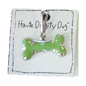 Dog Tags   Bone Dog Tag by Haute Diggity Dog   Green with Silver Dots