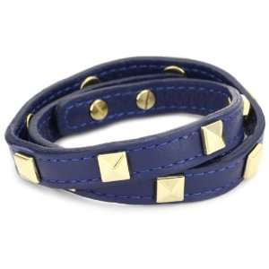 RAIN Twisted Leather Navy Blue and Gold Plated Squares Jewelry