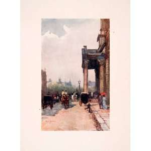 1910 Print St Georges Church Hanover Square London Street Scene John