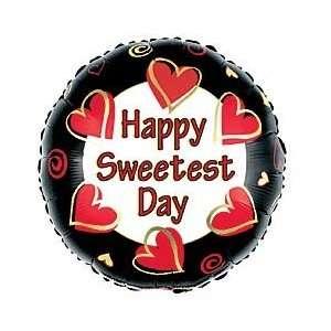 Happy Sweetest Day Hearts Red Black 18 Balloon Mylar