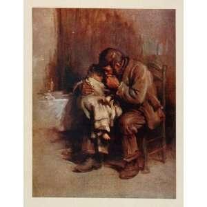 1914 Color Print Motherless Child Man Luke Fildes NICE