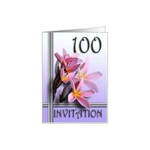 Frangipani 100th Birthday Party Invitation Card Toys