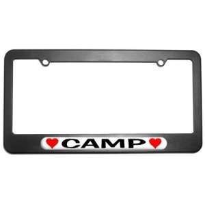 Camp Love with Hearts License Plate Tag Frame
