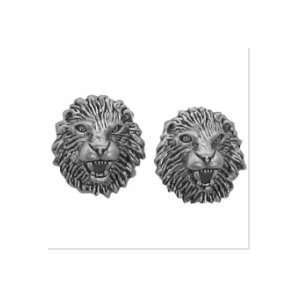 Sterling Silver Earrings Posts Studs Tiny Lion Heads Jewelry