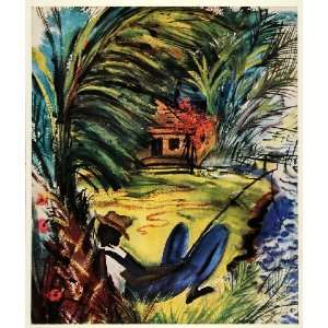 1945 Print Black Americana Lazybones Florida Fisherman