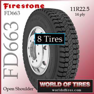 Semi truck tires 11R22.5 Firestone FD663   8 Tires   11 22.5 22.5 semi