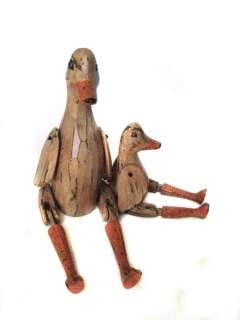 Wooden Duck Bird Puppet   Wood Farm Animal Statue   Set of 2   Brown