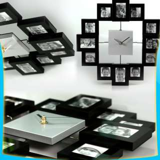 Black Multi 12 Pictures Modern Family Aluminum Photo Frame Wall Clock