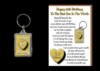40TH HAPPY BIRTHDAY SON 40 TODAY CARD AND KEYRING GIFT