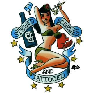 Stewed, Screwed and Tattooed Vinyl Sticker Mitch OConnell drawing of