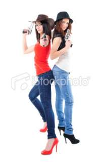 Cool girls with guns Royalty Free Stock Photo