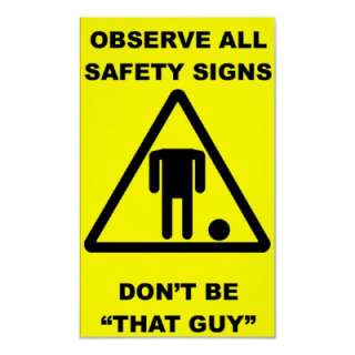 Headless Guy Safety Sign Poster from Zazzle